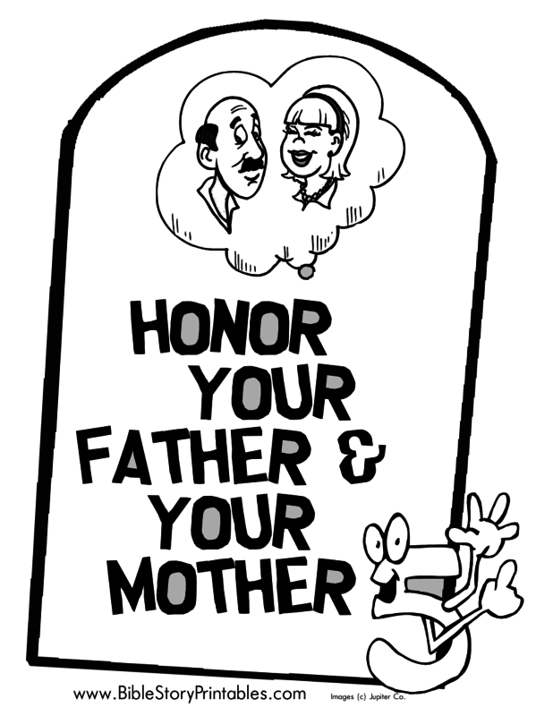 Youthland christian for Honor your father and mother coloring page